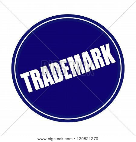 an images of Trademark white stamp text on blue