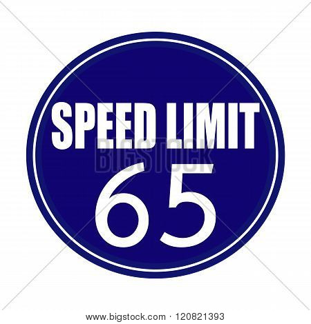Speed limit 65 white stamp text on blue