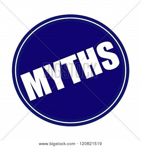 an images of MYTHS white stamp text on blue