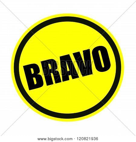 an images of Bravo black stamp text on yellow