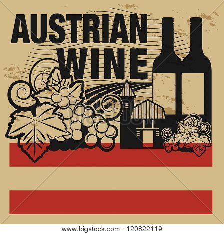 Grunge Rubber Stamp Or Label With Words Austrian Wine