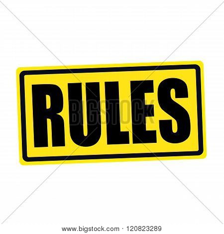 an images of Rules black stamp text on yellow