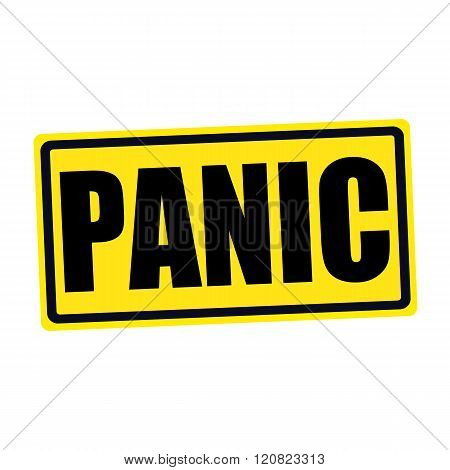 an images of Panic black stamp text on yellow