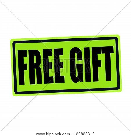 FREE GIFT black stamp text on green