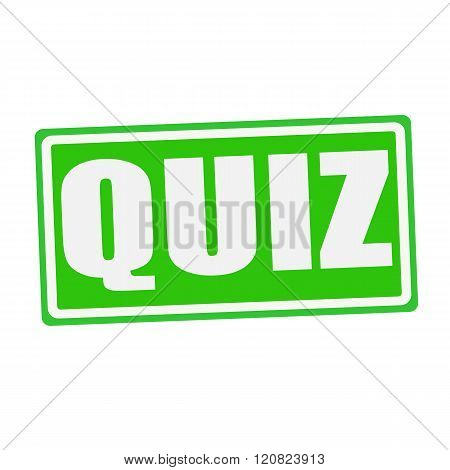 an images of QUIZ white stamp text on green