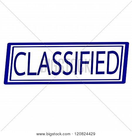 an images of Classified Blue stamp text on white.