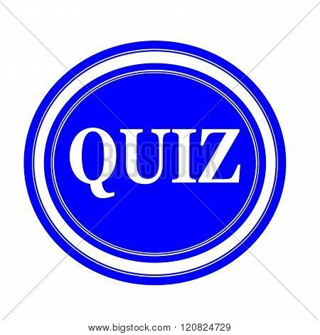 an images of QUIZ white stamp text on blue