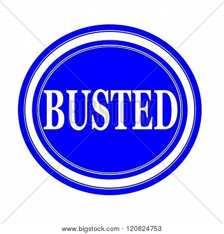 BUSTED white text stamp on blue background