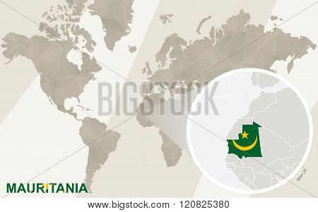 Zoom On Mauritania Map And Flag. World Map.
