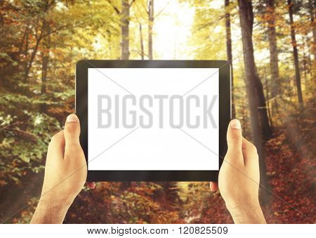 Hands holding tablet-pc with empty screen, on nature background