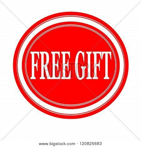 Free gift white stamp text on red