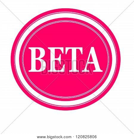 an images of Beta white stamp text on pink