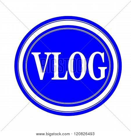 an images of Vlog white stamp text on blue