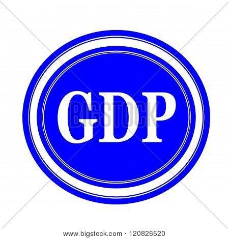 an images of GDP white stamp text on blue