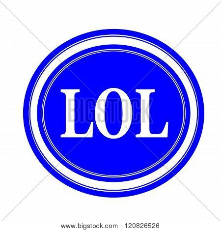 an images of LOL white stamp text on blue