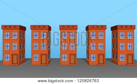 Icons Set Of Beautiful Houses Made Of Brick
