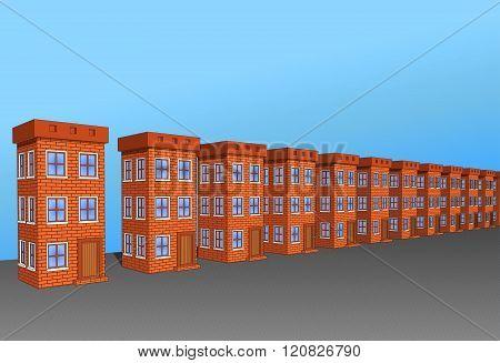Set Of Beautiful Houses Made Of Brick