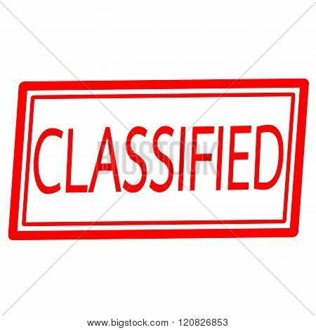 an images of Classified red stamp text on white