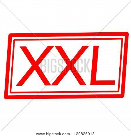 an images of XXL red stamp text on white