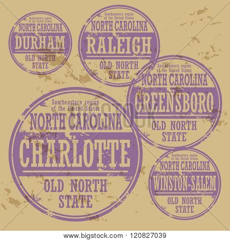 Grunge Rubber Stamp Set With Names Of North Carolina Cities