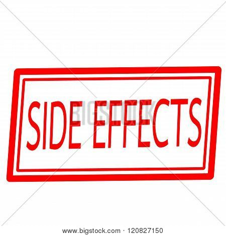 Side effect red stamp text on white