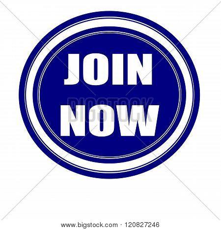 Join now white stamp text on blueblack