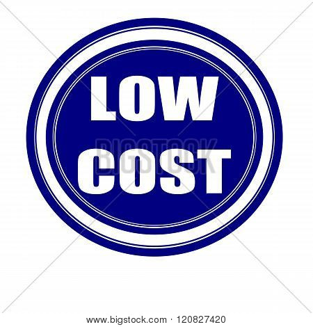 Low cost white stamp text on blueblack