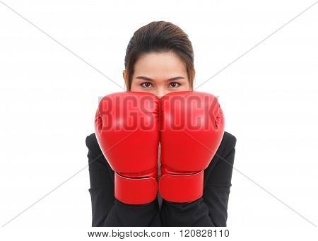 Asian Business Woman With Boxing Gloves In Guard Position Isolated On White Background