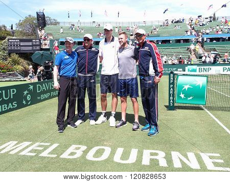 THE US Davis Cup Team After Winning The Davis Cup Tie Against Aust