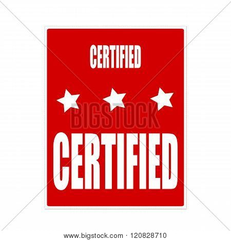 certified white stamp text on red background