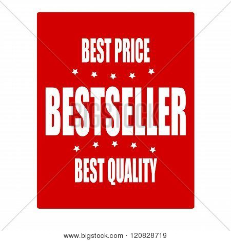 Bestseller white stamp text on red background