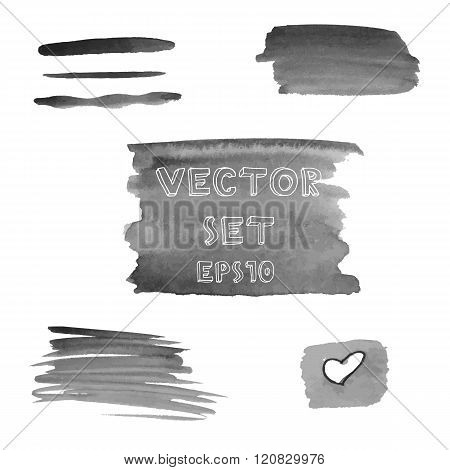 Set of grunge shades of grey watercolor hand painted shapes. Vector Illustration EPS10