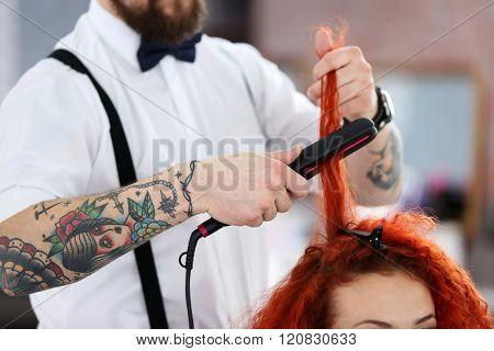 Adult girl visit hairdressing salon