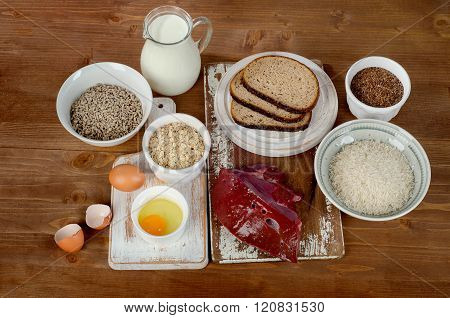 Foods Highest In Thiamin (vitamin B1) On Wooden Background.