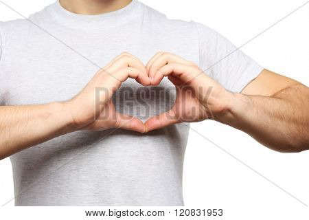 Man making heart with hands, isolated on white