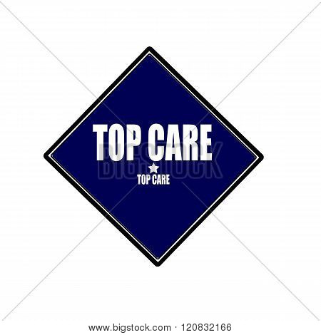 Top Care white stamp text on blue black background