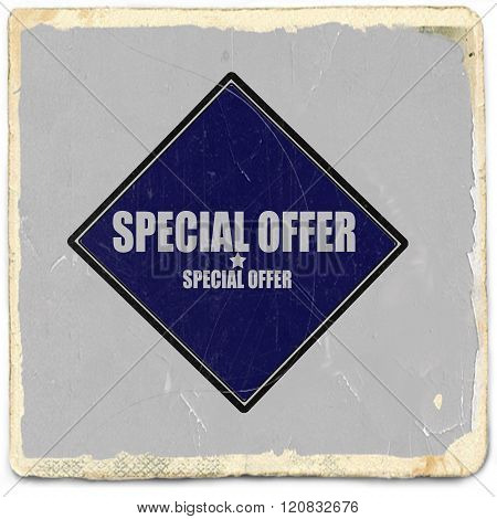 Special Offer white stamp text on blue black background