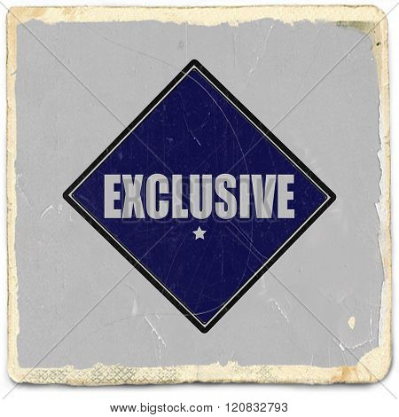 exclusive white stamp text on blue black background
