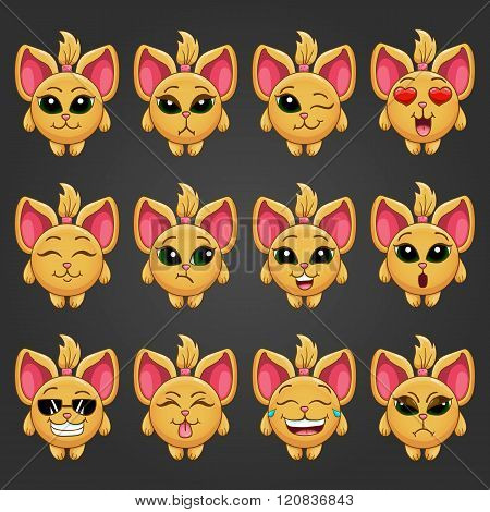 Set Cute Cartoon Fantastic Animal Like A Cat With Different Emotions