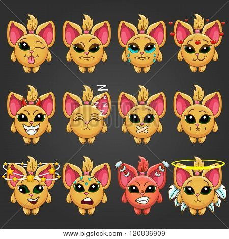 Set Cute Cartoon Fantastic Animal Like A Cat With Different Emotions-2