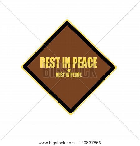 Rest In Peace Yellow Stamp Text On Brown Background