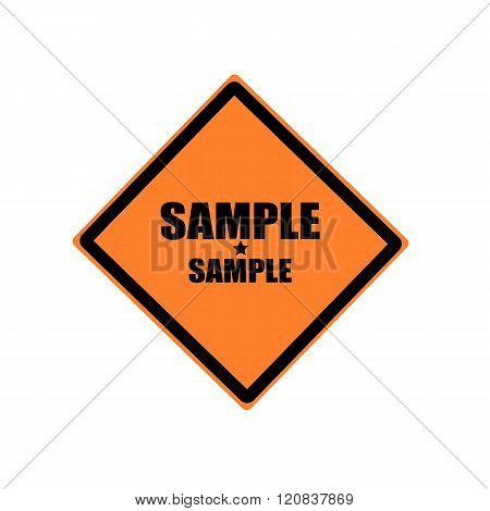 Sample Black Stamp Text On Orange Background