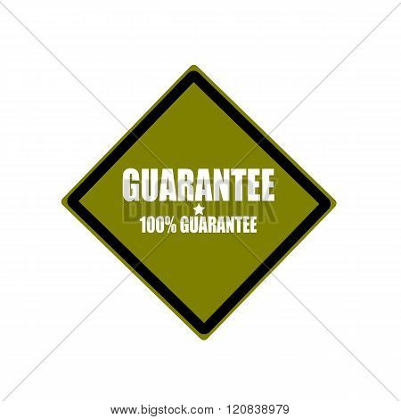 Guarantee White Stamp Text On Green Background