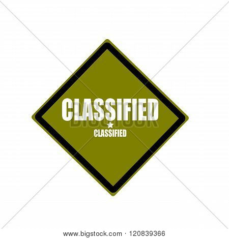 Classified White Stamp Text On Green Background