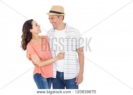 Couple looking at each other on white background