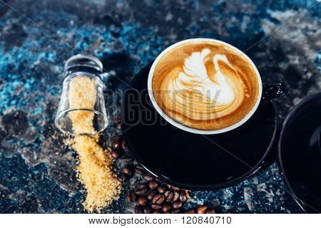 Coffee Latte Art, Barista And Bartender Creating Machiatto Coffee
