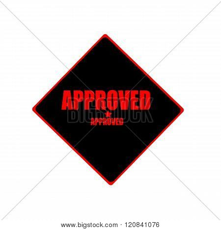 Approved Red Stamp Text On Black Background