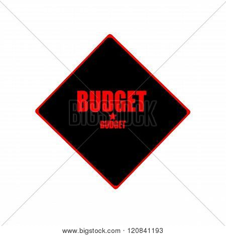 Budget Red Stamp Text On Black Background