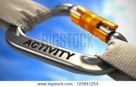 Chrome Carabine Hook with Text Activity.