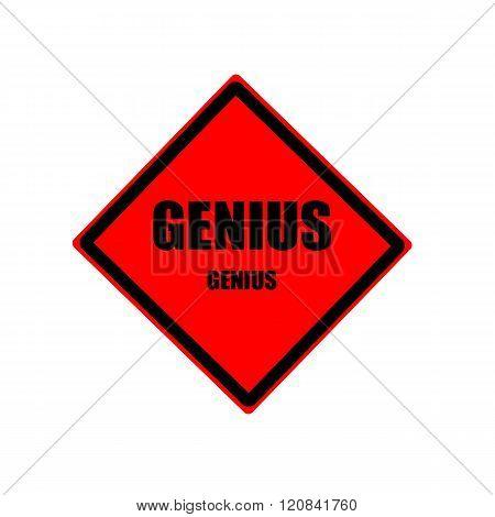 Genius Black Stamp Text On Red Background
